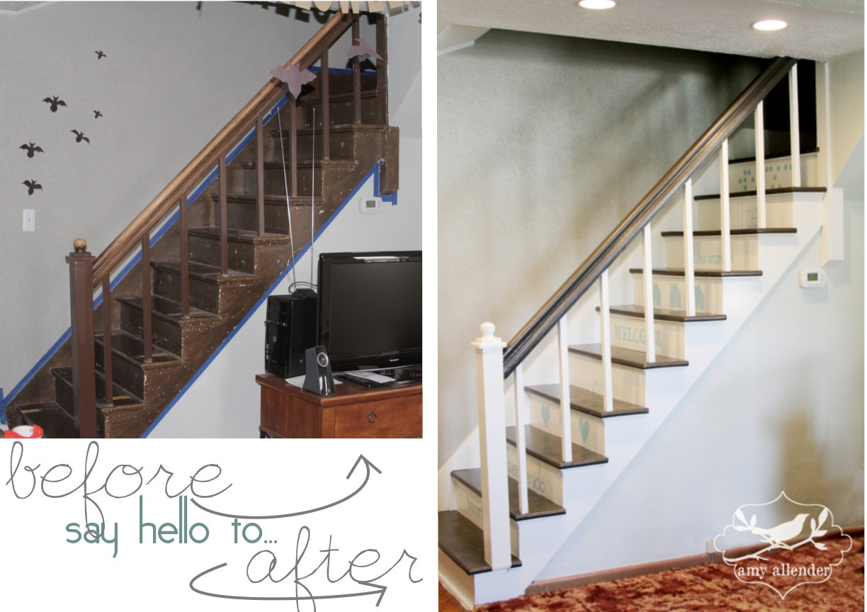 A statement stair makeover how i did it amy allender for Diy staircase makeover