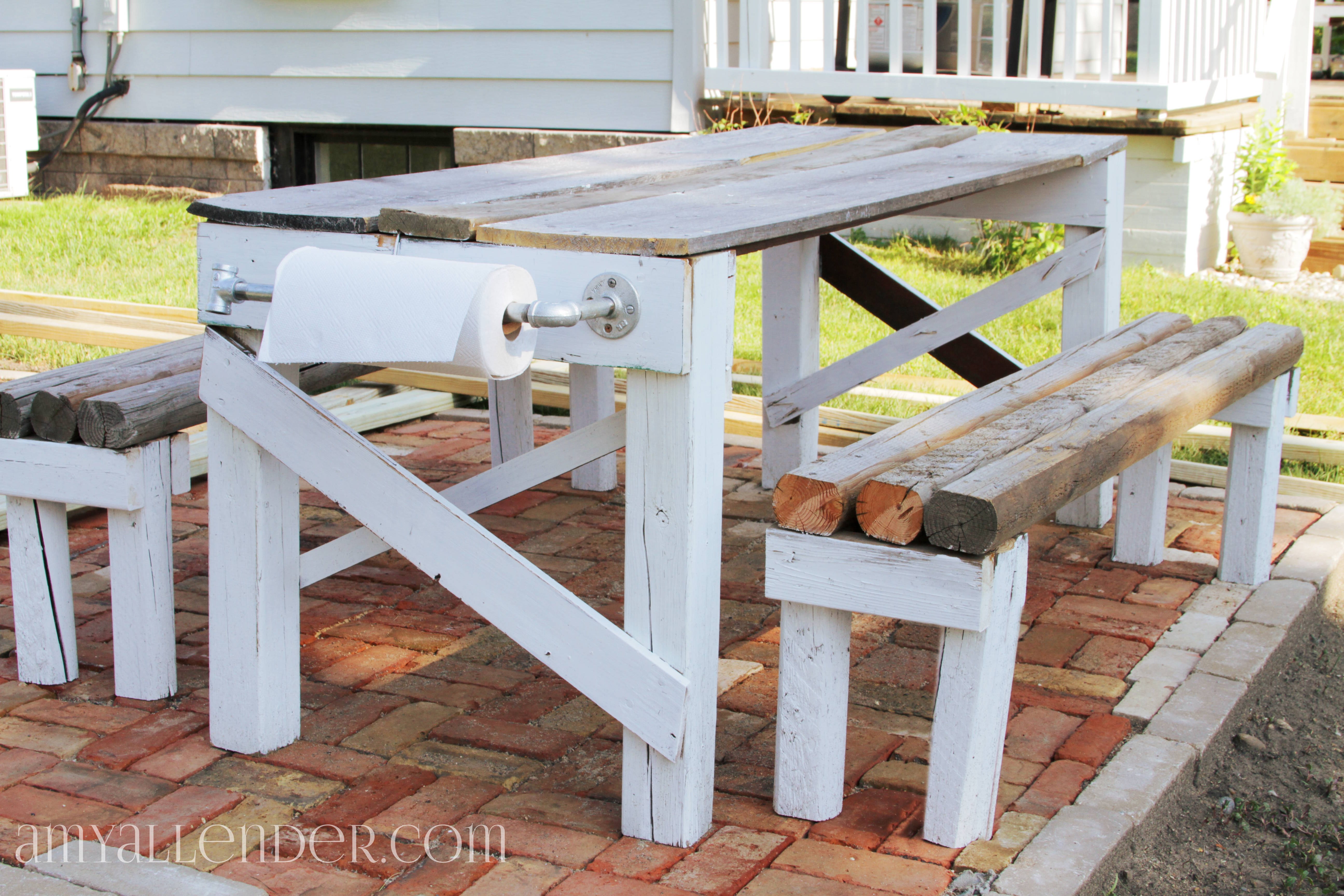 How to make a picnic table out of reclaimed wood plans diy for Easy tables to make