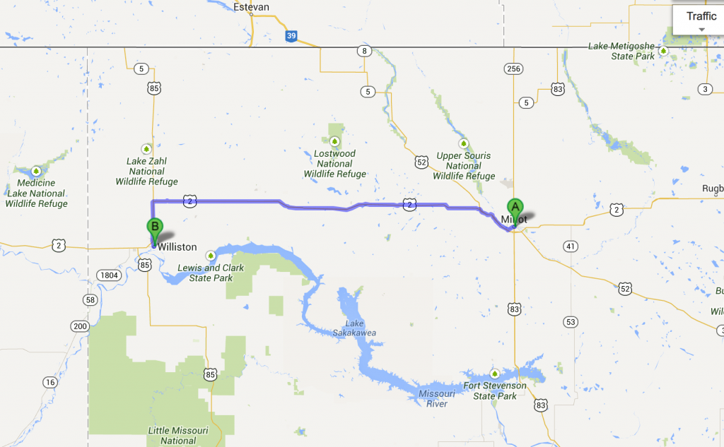 Minot to Williston