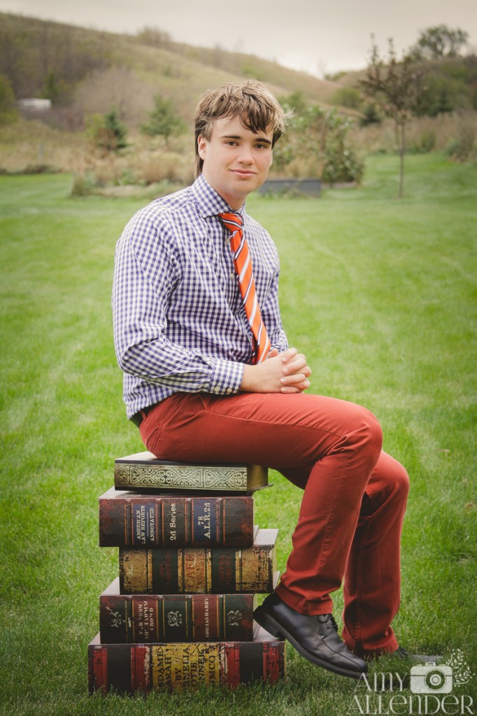 book themed senior portrait