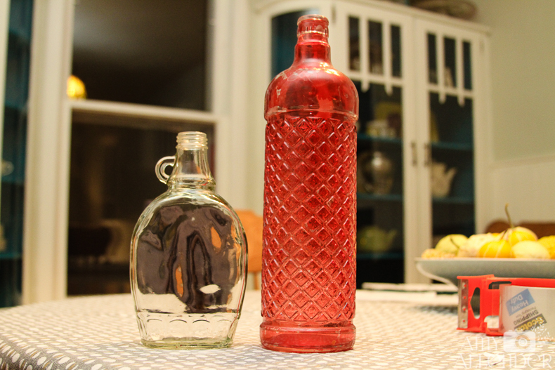 DIY distressed glass bottles