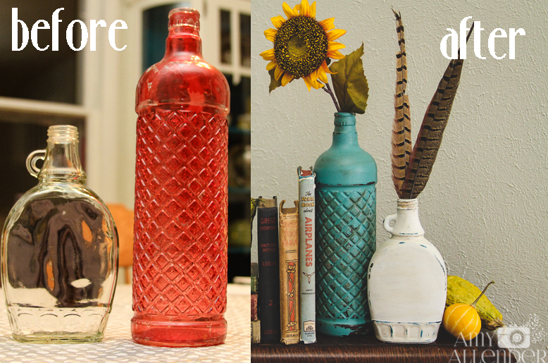 DIY disstressed glass bottles