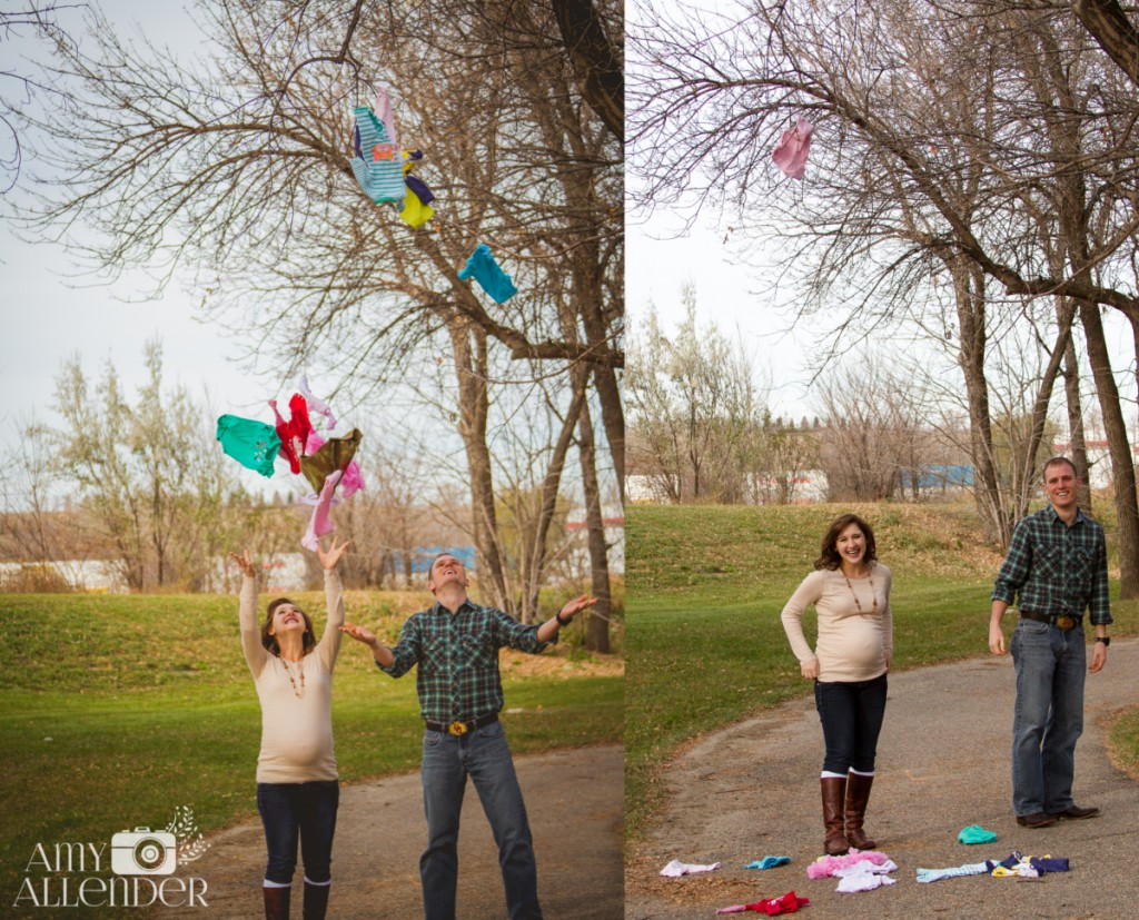 Clothes line maternity photos