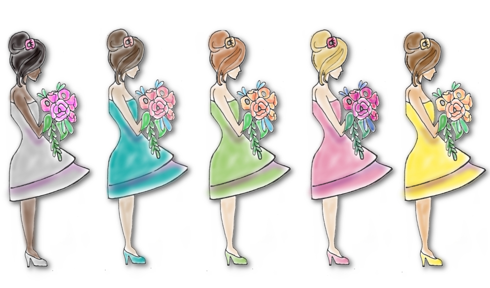 bridesmaid paper doll cards