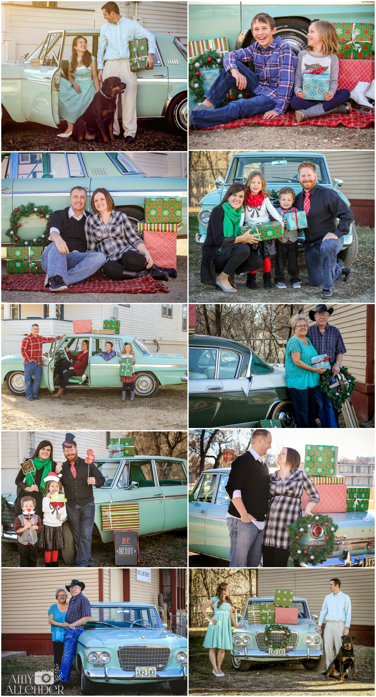 christmas photos with vintage car
