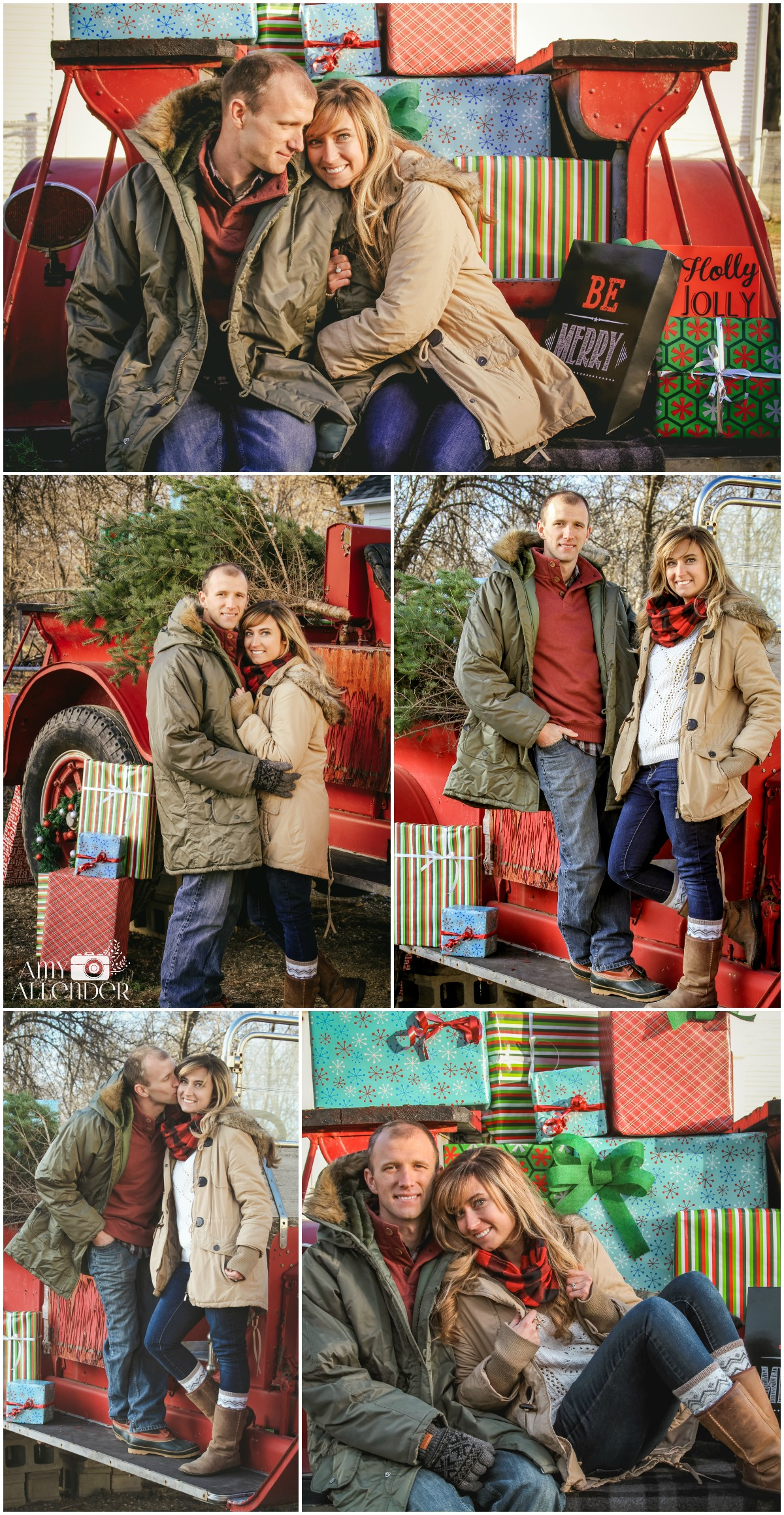 Christmas Card photos with vintage fire truck