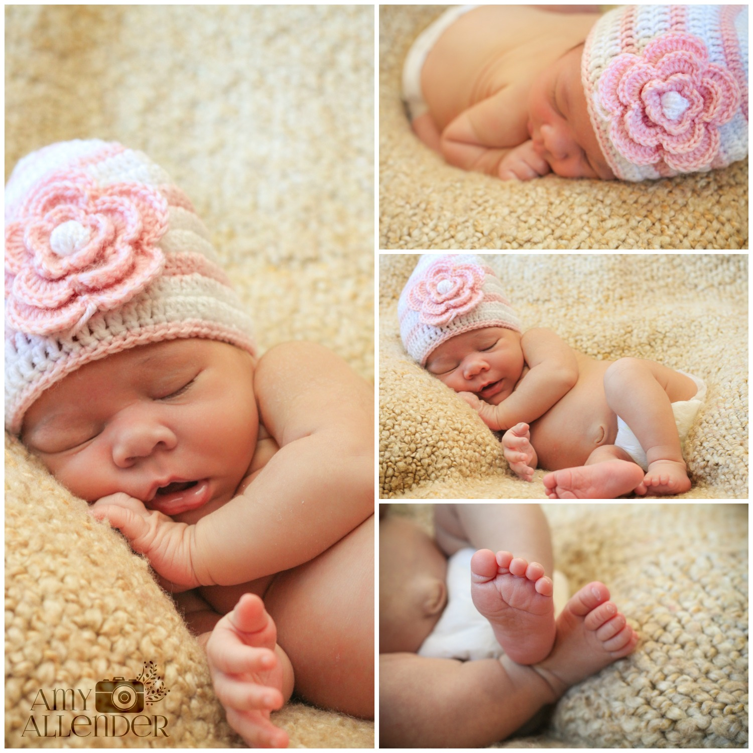 newborn on blanket photos