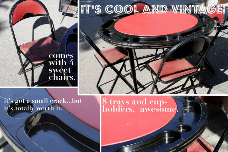 The Legs Collapse And The Chairs Fold Up So You Can Store It Easily. Email  Me Or Text Me If Youu0027re Interested.