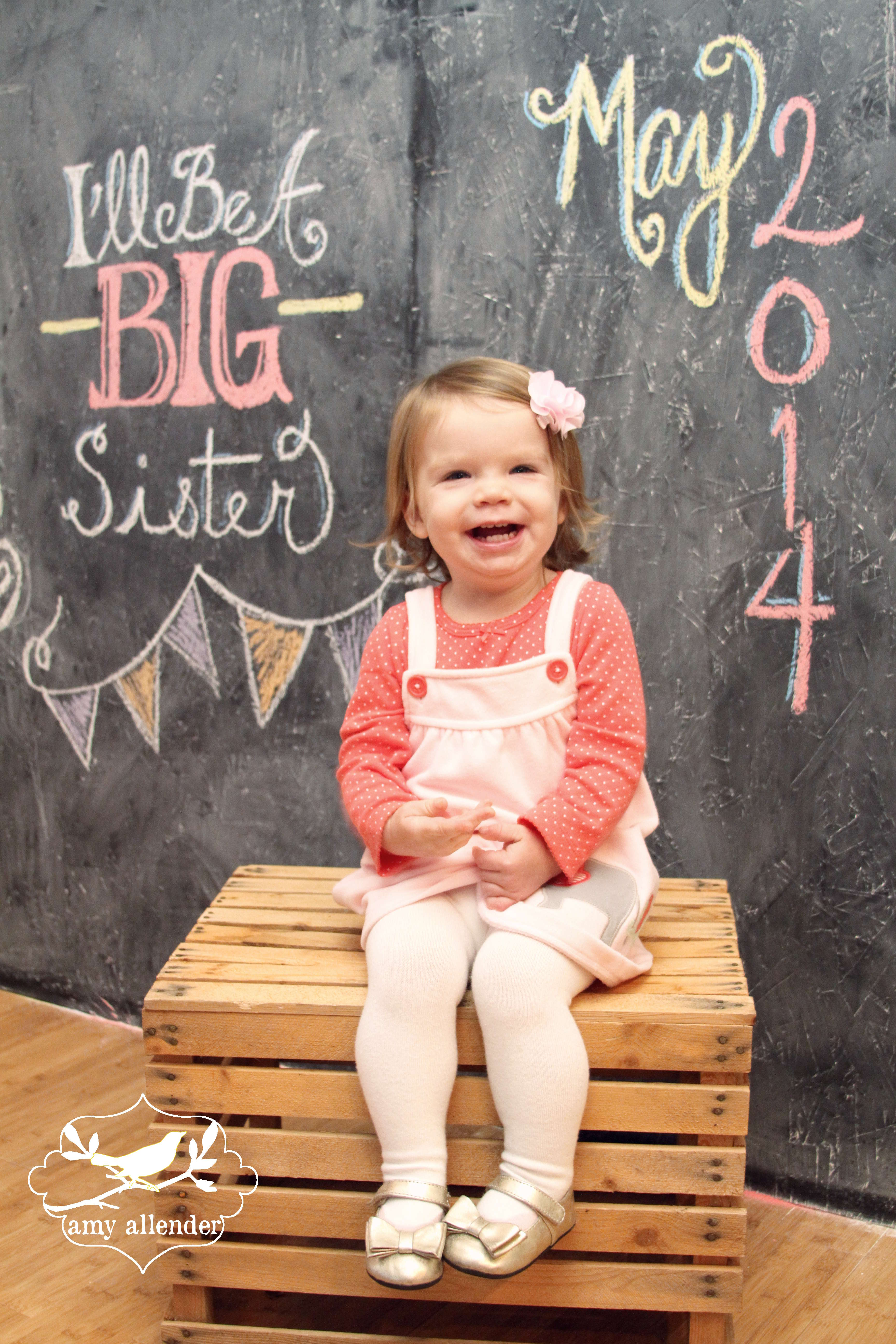 Baby Announcement Mini a chalkboard sneak peek amy allender – Big Sister Birth Announcement
