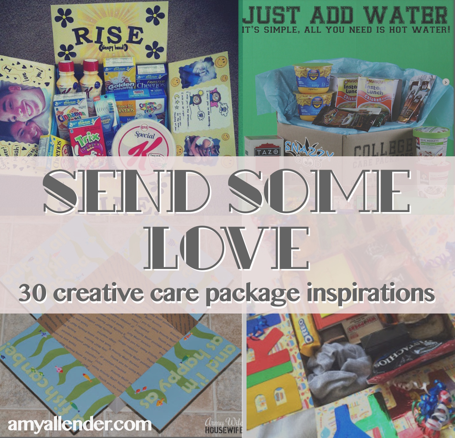 Send some love 30 creative care package ideas amy allender dot com care package round up negle Images
